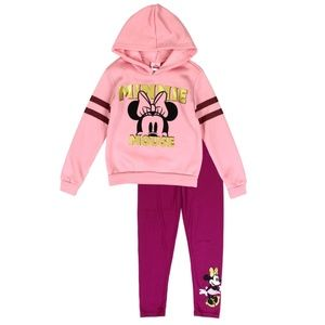 Minnie Mouse Girls 2PC Hoodie Legging Set. 4-6X